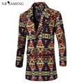 Men Floral Printed Worsted Coat Plus Size M-3XL 2017 Winter Warm Mens Overcoat Slim Men Long Worsted Trench Coat 13M0361