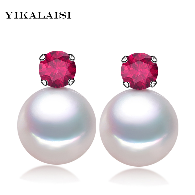 YIKALAISI 925 Sterling Silver Jewelry100% Natural 7-8mm Freshwater Pearl Jewelry Stud Earrings  For Women Best Gifts
