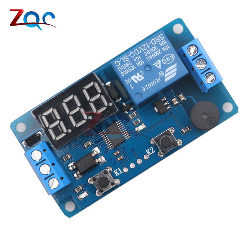 Digital LED Display Time Delay Relay Module Board DC 12V Control Programmable Timer Switch Trigger PLC Automation Car Buzzer ifree fc 368m 3 channel digital control switch white grey