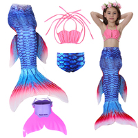Kids Girls Mermaid Tail Csoplay Costume Children Ariel Princess Bikini Swimsuit Can Wear Mermaid Tail Monofin