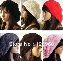 Free Shipping!2013 New 30pcs/lot Fashion Warm Winter Women Beret Braided Baggy Beanie Hat Cap