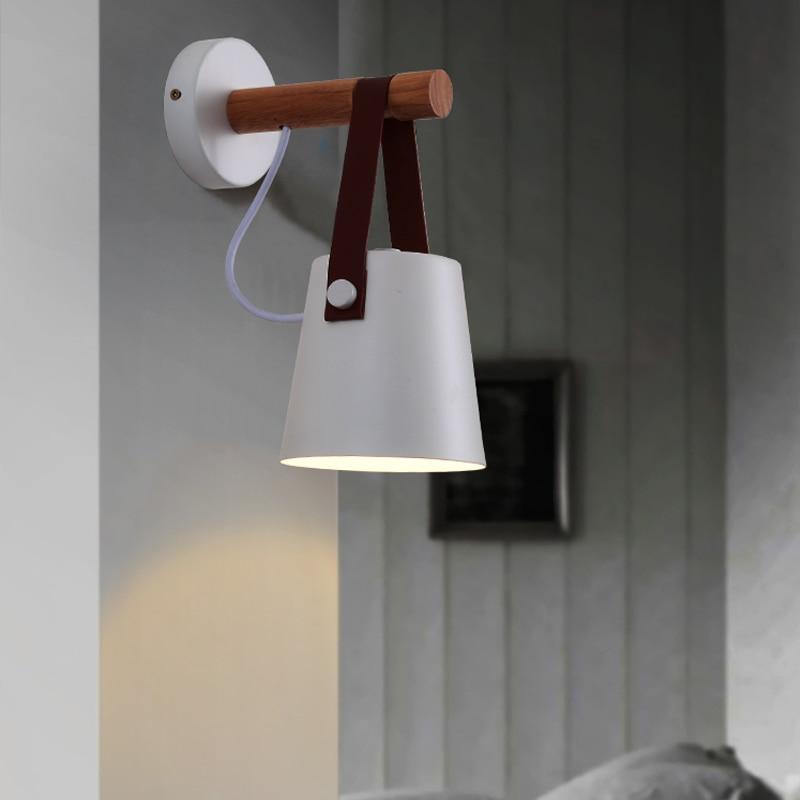 LED Modern Nordic Wall Light Wood Wall Lamp Bed Bedside Light Night Lights Lampshade Home Decor White & Black Belt E27 85-265V