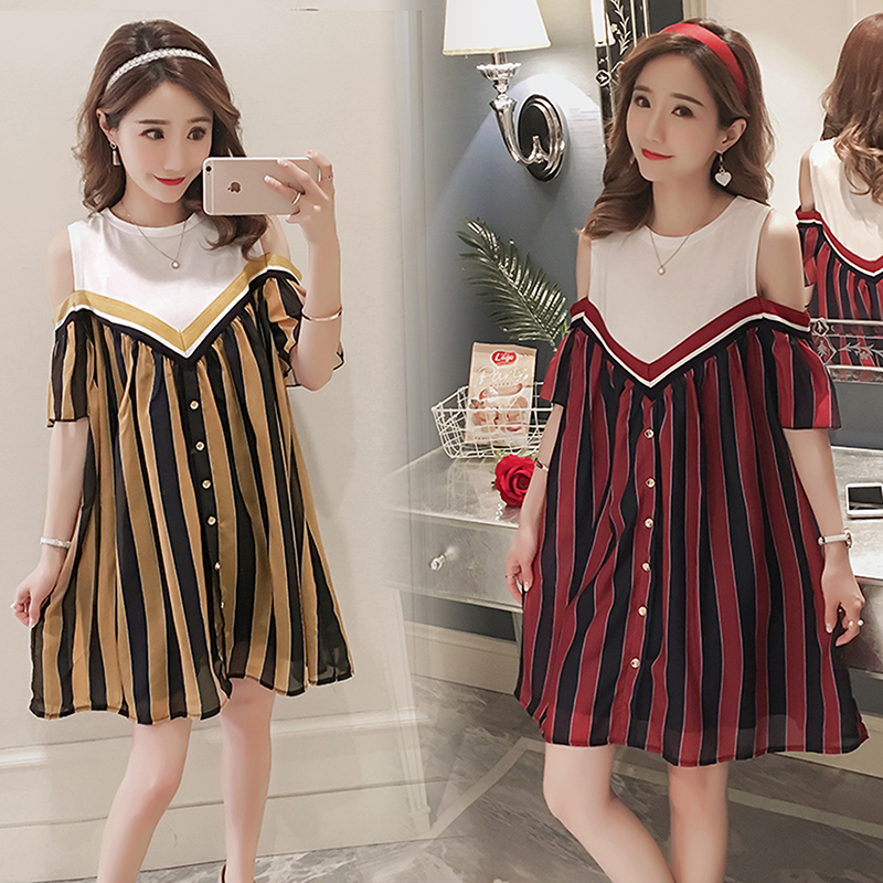 Striped Maternity Clothing Cute Pregnancy Dress Fashion Patchwork Chiffon Maternity Clothes For Pregnant Women Premama