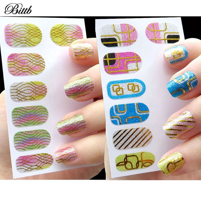 bittb 2pcs nail art sticker long