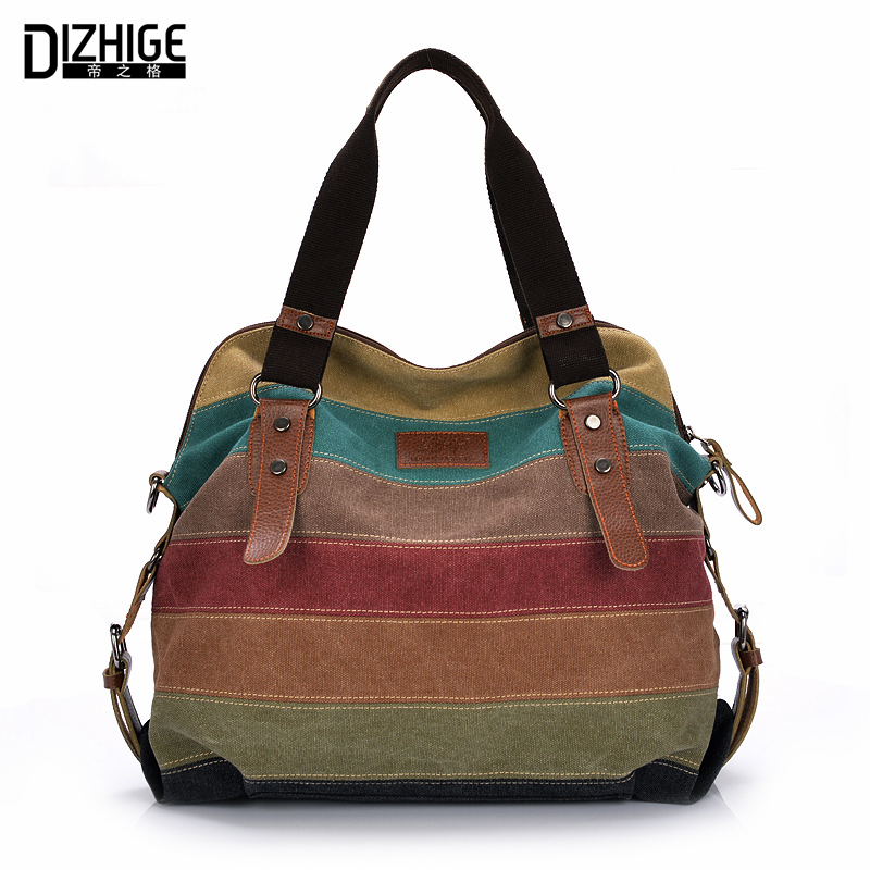 Canvas Bag Tote Striped Women Hs