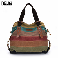 Canvas Bag Tote Striped Women Handbags Patchwork Women Shoulder Bag New Fashion Sac A Main