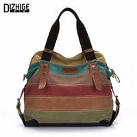 Canvas Bag Tote Striped Women Handbags Patchwork Women Shoulder Bag New Fashion Sac A Main