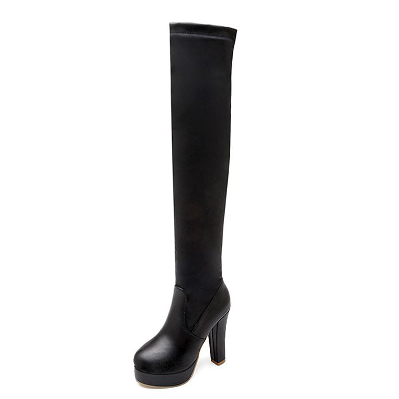 Big Size 34-43 Fashion High Heels Over The Knee Boots Solid Platform Shoes Woman Plain Fall Winter Boots Thigh High Boots Women big size 34 43 fashion rivets skid proof ankle boots square high heels platform shoes fall concise winter boots shoes woman