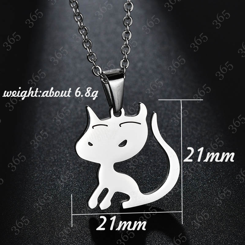 US $2 89 |2018 New Stainless Steel Cat Pendant Necklace Lovely Animal  Silver Color Minimalist Creative Necklace Valentine's Day Gift-in Pendant