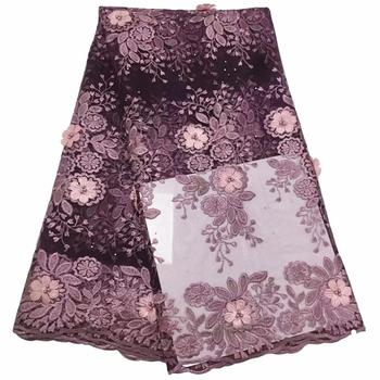 High quality french net lace african lace fabric for wedding dress Tulle African French Tulle Lace with stones and beads