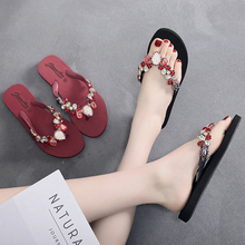 2019 Fashion Women Slippers Crystal Flip Flops Flat Shoes Summer Black/Red Female Shoes Casual Lady Shoes Woman Footwear hot sale 2016 summer woman shoes rhinestone flat woman shoes fashion casual shoes wild concise female flip flops dt194