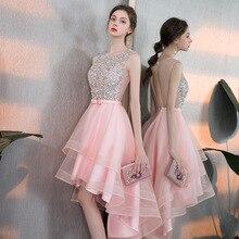 فستان سهرة للسيدات أنيق بدون ظهر قصير وطويل موضة وصيفة العروس فستان وردي vestidos de fiesta