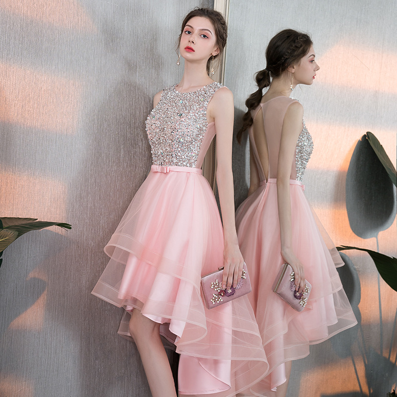 Elegant Ladies Backless Banquet Evening Dress Short And Long Fashion Bridesmaid Wedding Pink Dress Vestidos De Fiesta
