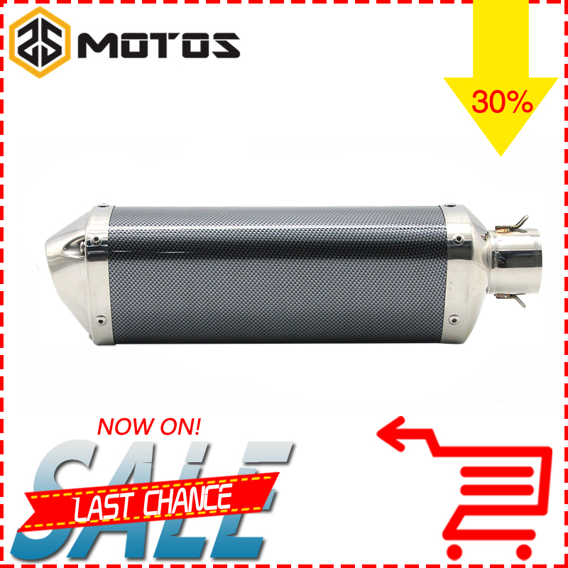 ZS MOTOS 2017 New Universal 35-51mm Motorcycle exhaust Modified Scooter Akrapovic Exhaust Muffle Fit for most motorcycle ATV