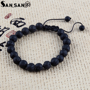 Image 4 - New Design Black Volcanic Stone Beads Bracelet Woman Men Lava Healing Balance Reiki Prayer adjustable bracelet