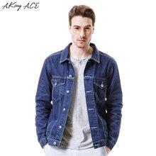 2017 AKing ACE New Arrival Mens Denim Jacket with Pockets Male Classic Jeans Jackets Man Dark Blue Jacket Retro M-3XL ,ZA285