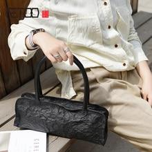British style retro fashion small black handmade cowhide bag, lady leather shoulder handbag, casual bread women fold Bag недорого