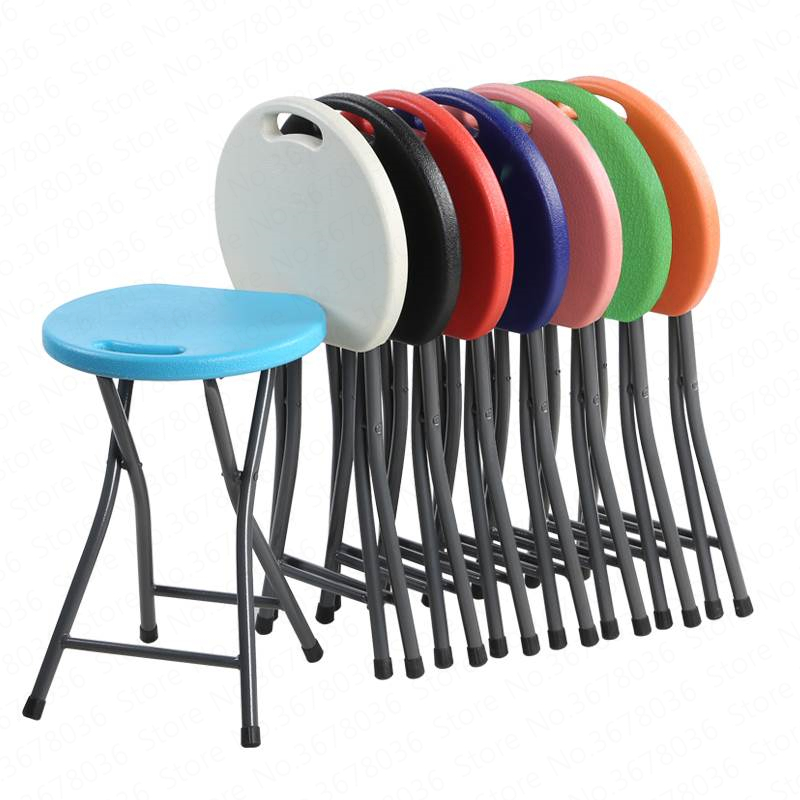 0%Folding Stools Household Plastic High Stools Portable Outdoor Stools Adult Sitting Student Dormitory Stool Folding Chairs