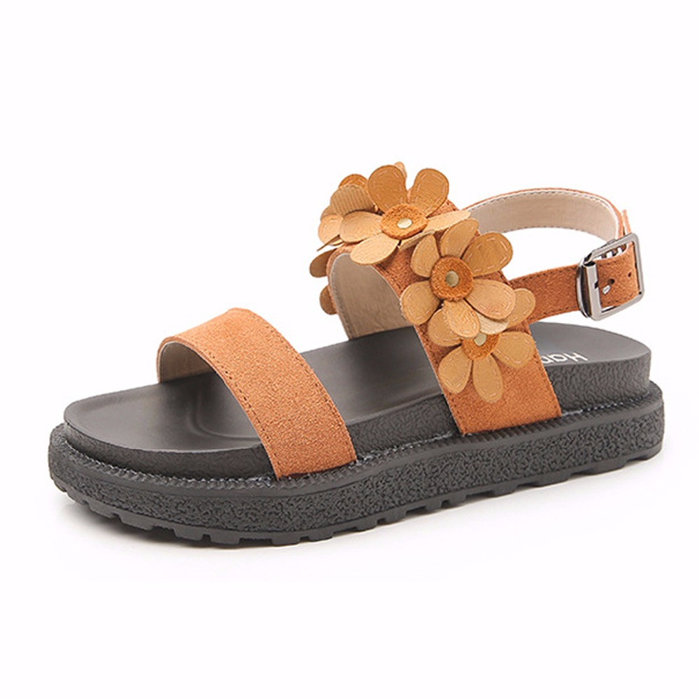 Genuine Leather Rome Flowers Sandals Women Shoes For Women Flat With Khaki Camel Sandals Med Heels 34-43 High Quality Flowers facndinll genuine leather sandals for