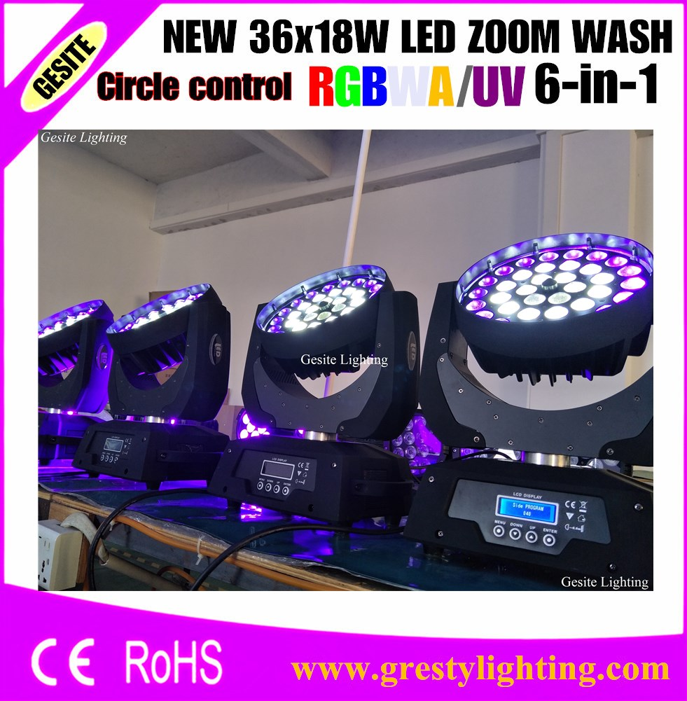 4pcs/LOT fly case package 36X18W circle control rgbwa+uv 6in1 moving head zoom wash with 1pcs 4in1 flight case package