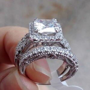 Image 5 - Newshe 2 Pcs Hochzeit Ring Set Klassische Schmuck 2,8 Ct Prinzessin Cut AAA CZ 925 Sterling Silber Engagement Ringe Für frauen JR4887