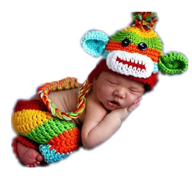 Online Shop Baby Hat Pant Set Newborn Baby Boy Crochet Knit Sock Monkey Cap  With Ear Flaps Photography Prop for Boys Girls D  6086eeef6da9
