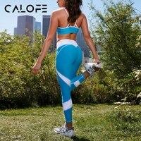 CALOFE Camisola Mujeres Yoga Suit Deportes Running Girls Delgado Leggings Gimnasio Tops Sujetador Patchwork Malla Pantalones Deportivos Gimnasio Al Aire Libre