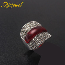 Ajojewel 2018 Original Jewelry Red Stone Geometric Vintage Rings For Women With Black Rhinestones Bijoux Fine Wedding Gift