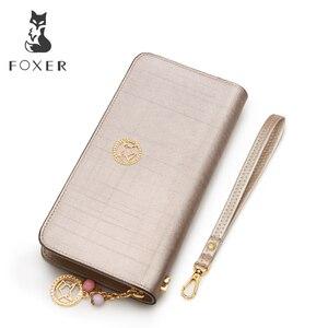 Image 3 - Foxerブランド女性牛革財布シンプルなコイン財布ファッションジッパーロング財布女性クラッチバッグ