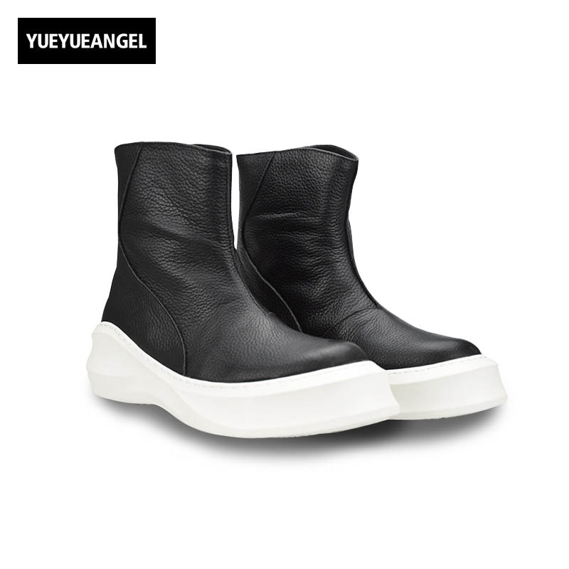 Punk Style 2018 Autumn New Fashion High Top Genuine Leather Cow Leather Zipper Mens Shoes Male Sapato Masculino Couro Big Size худи print bar гомер зомби
