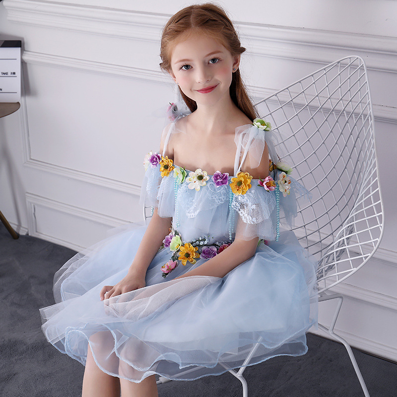 Cute Girl's Dress Birthday Princess Dress Ball Gown Off Shoulder Flower Girl Dresses Appliques Kids Pageant Dress Floral Gowns цена 2017