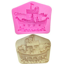 M0137 Piratenschip Shaped Silicone Mold Cake Decoratie Fondant Cake 3D Mold Food Grade Silicone Mould(China)