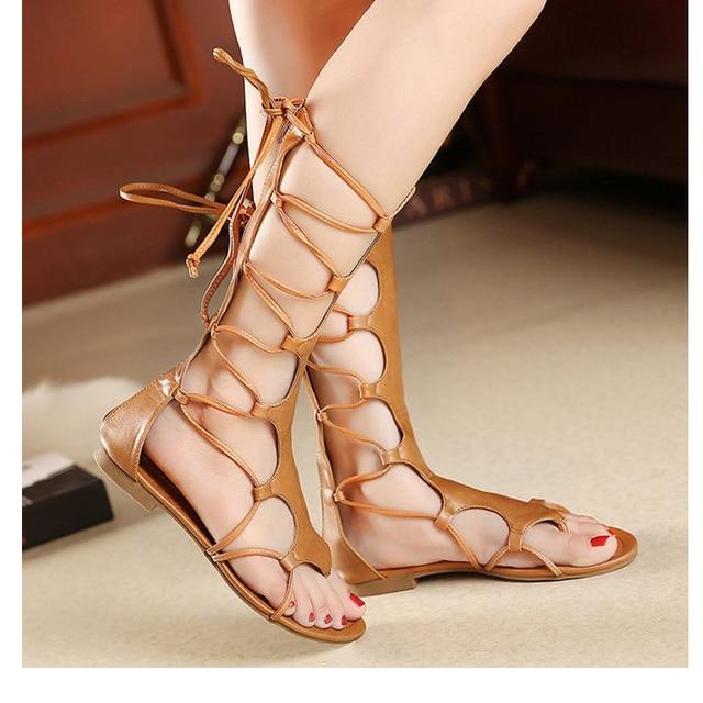 2259101eb28 Jookrrix 2018 Summer Fashion Brand Rome Style Shoes Women Girl Knee High  Gladiator Sandal Lace Up Black Shoe Brown Good Quality