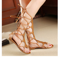 Jookrrix 2018 Summer Fashion Brand Rome Style Shoes Women Girl Knee High Gladiator Sandal Lace Up