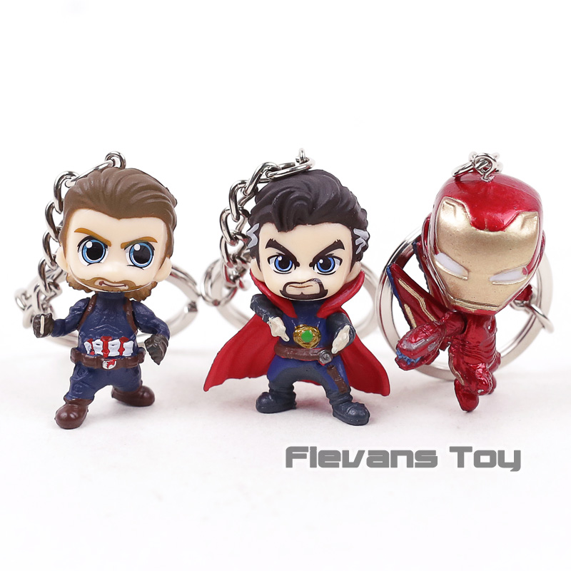 Avengers Infinity War Iron Man Iron Spider Hulkbuster Thanos Doctor Strange Captain America Mini Keychains Figures Toys Dolls