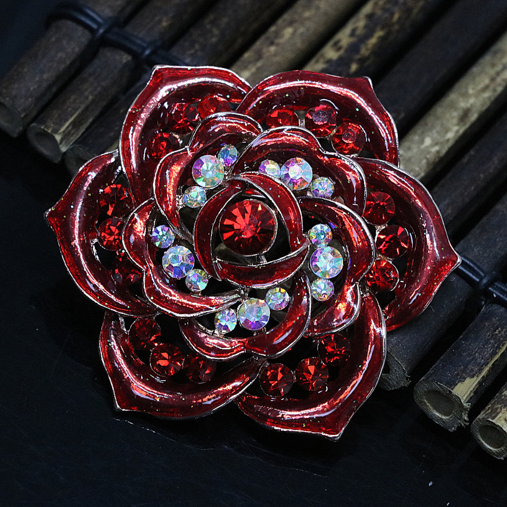 Newly rose gold color flower fashion brooches charms for women pins ...