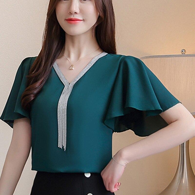 Women Blouse Shirts Summer Chiffon Tops Female Fashion Korean Office Lady Elegant Plus Size XXXL