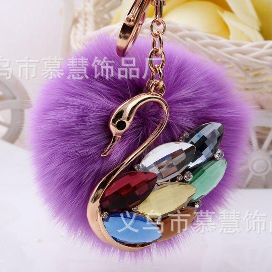 Purple keychain fur pom pom Faux Rabbit Hair Bulb Lady Bag For Car Ornaments Fox fur Ball Pendant Key Ring Swan