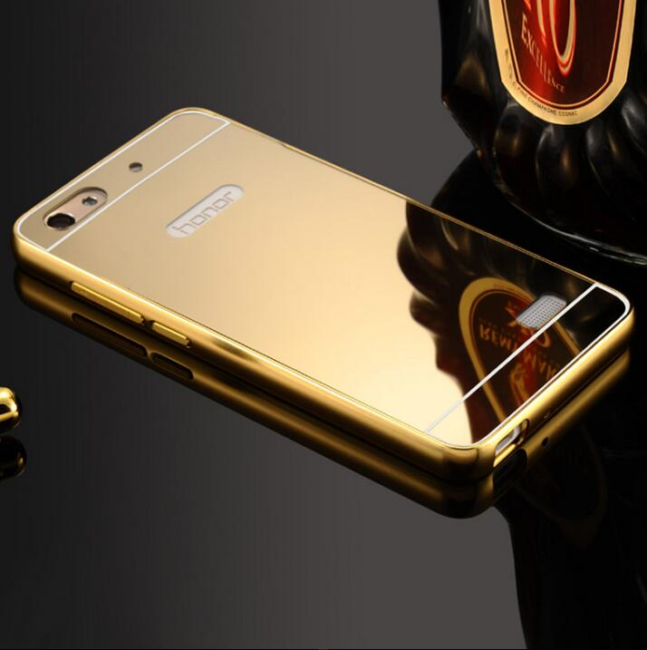 Luxury Metal Mirror <font><b>Phone</b></font> <font><b>Case</b></font> For <font><b>Huawei</b></font> <font><b>Honor</b></font> 4C/4X/4A/5C/<font><b>6</b></font>/6Plus/7/8/V8/V9 Coque Plating Aluminum Frame+Mirror Back Cover