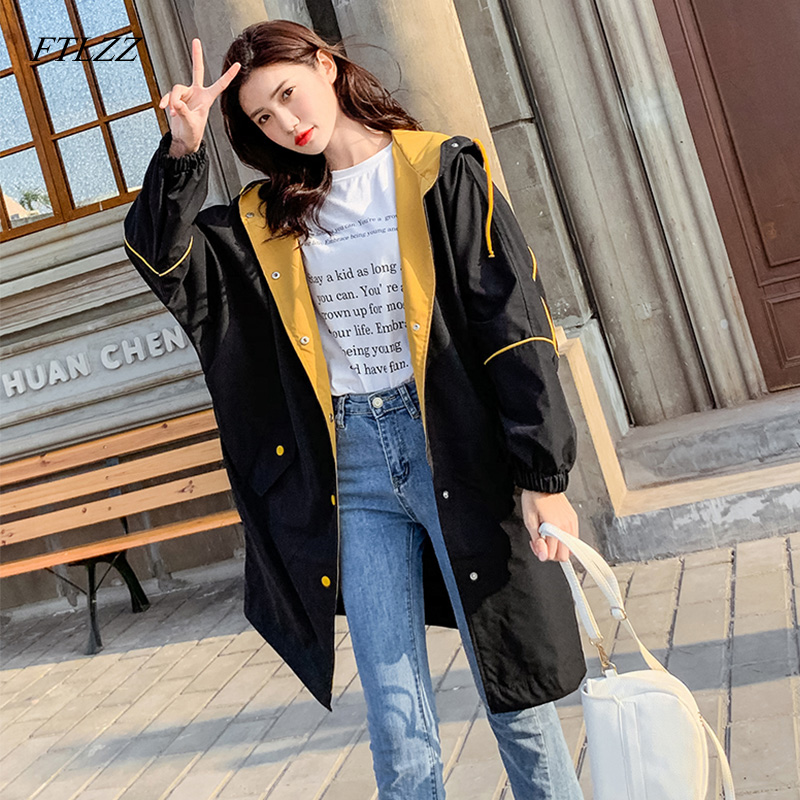 FTLZZ New Spring Women Hooded Loose   Trench   Coat Casual Long Windbreaker Female Single Breasted   Trench   Clothing Outerwear