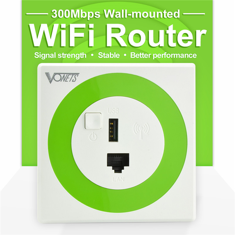 Vonets wireless 300mbps professional in wall wifi router repeater wi fi bridge with usb - Wifi repeater with usb port ...