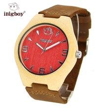 IBigboy Hombres Reloj de Las Mujeres De Bambú De Madera Redonda Del Cuarzo de Japón Relojes Correa de Cuero de la Marca Para Hombre Reloj Exquisito Regalo Para El Padre