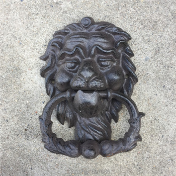 2 De hierro fundido León llamador de la puerta aldaba Lionhead pestillo de la Puerta de los Leones a casa Oficina puerta decoración Animal Vintage arte