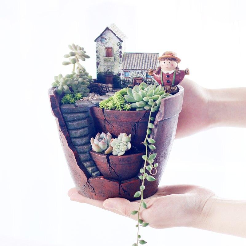 Image 5 - Roogo Fairy House Pots For Flowers Resin Sky Garden Flowerpot Home Garden Decorative Flower Pots Succulents Bonsai Pot-in Flower Pots & Planters from Home & Garden