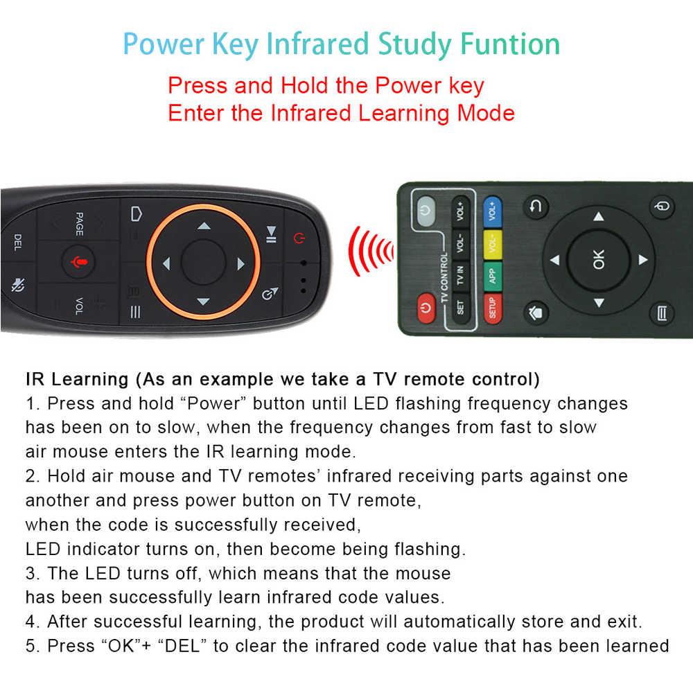 Baru G10 Suara Air Mouse 2.4 GHz Nirkabel Google Mikrofon Remote Kontrol Mikrofon Gyrosconpe IR Belajar untuk Kotak TV Android