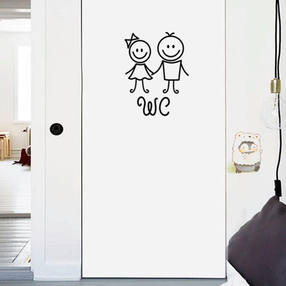 Cute PVC Easy Apply Cartoon Home Girl Boy WC Removable Reusable Self Adhesive Toilet Washroom Door Sticker Decorative Bathroom
