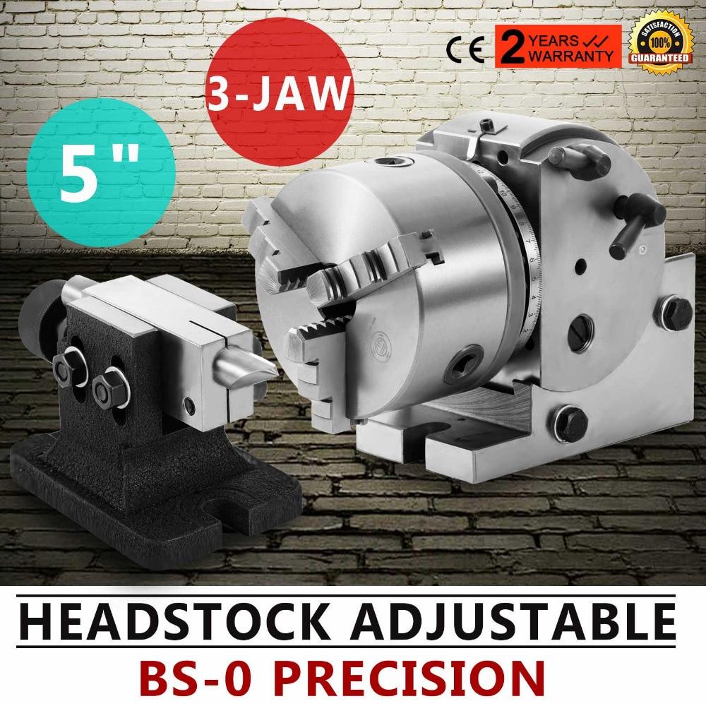 Dividing Head BS-0 5Inch 3 Jaw Chuck Dividing Head Set Precision Semi Universal Dividing Head For Milling Machine Rotary Table
