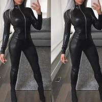 Women WETLOOK PU Leather Gothic Motor Jumpsuit Clubwear Costume Playsuit Zipper