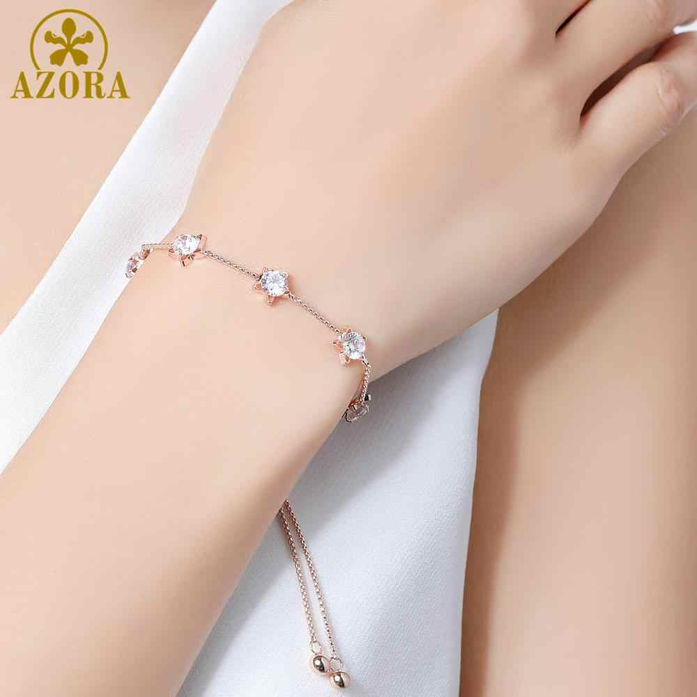 AZORA pięć gwiazdek wyczyść cyrkonia slajdów regulowany łańcuch bransoletki kobiet mody różowe złoto kolor biżuteria prezenty TS0191