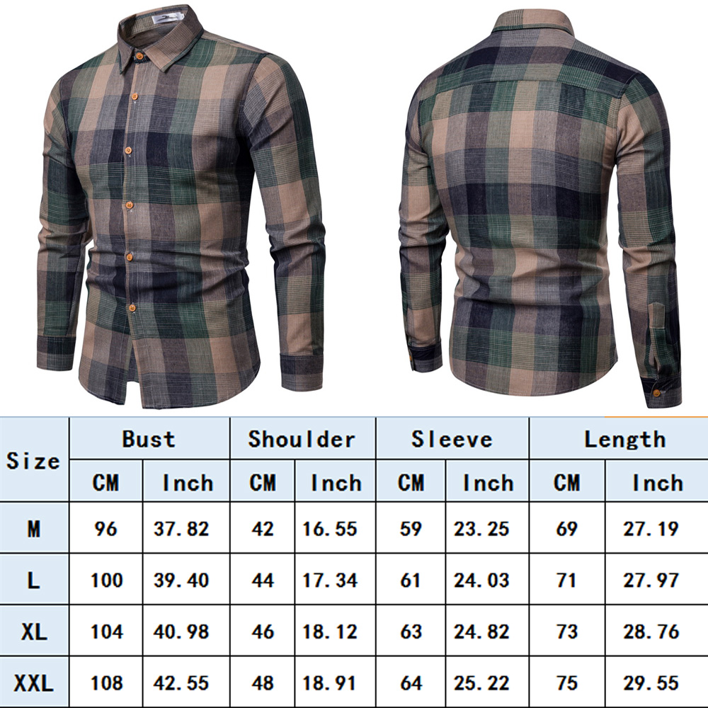2019 Mens Long Sleeve Slim Fit Dress Shirt Business Work Luxury Plaid  Formal Shirt Clothes #555503